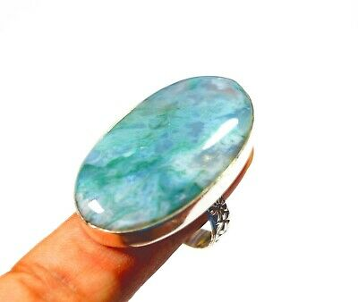 Green Moss Agate Gemstone Ring Size US 10 Silver Plated Handmade 15.36 g