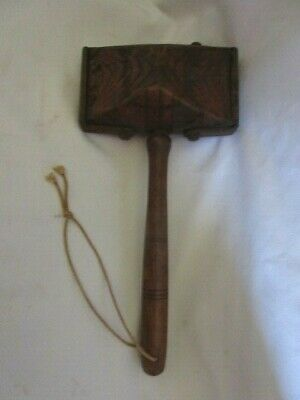 UNUSUAL Antique Incised WALNUT  Mallet with Cast Iron Belted Ends
