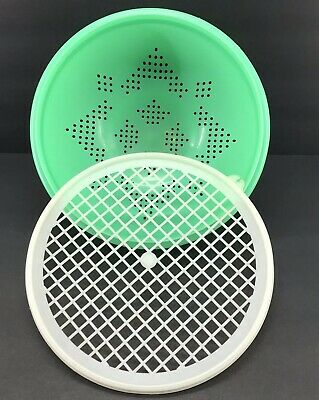 Vintage Tupperware Jadite Green Colander Strainer + Flow-thru Seal #339 #516