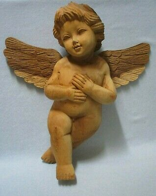 "Large 17"" Angel, Carved Wood Cherub, Detailed Carving on Wings, Loop for Hanging"