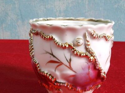 Victorian Mustache Style Cup Gold Raised Flowers Lace ANTIQUE
