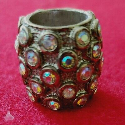 Pewter and crystal finger protector thimble