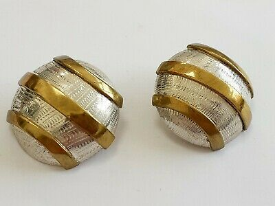 (710) LARGE PAIR OF VINTAGE STERLING SILVER AND BRASS EARRINGS 27.6g