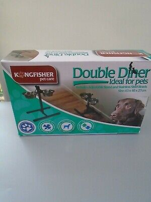 Kingfisher Boxed New Double Dog Diner Dog Bowls On Stand