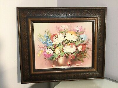 Small Still Life Flower Oil Painting. Framed And Signed