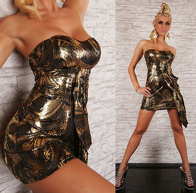 SeXy MiSS Damen Bandeau Mini Kleid S/M 34/36 38/40 Dress Metallic schwarz gold
