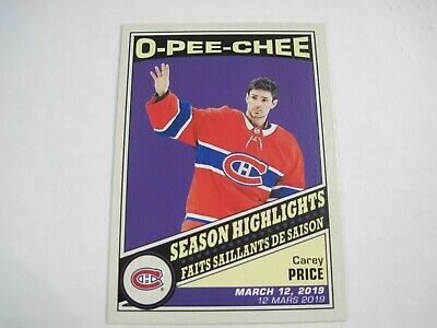 2019/20 O-Pee-Chee Carey Price Season Highlights Retro Card #600 Sp!