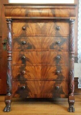 Antique Mahogany Empire Bedroom Dresser Chest of Drawers Acanthus Carved ca 1840