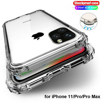 For iPhone 11 Pro XS Max XR 8 7 Plus Shockproof Transparent Silicone Case Cover