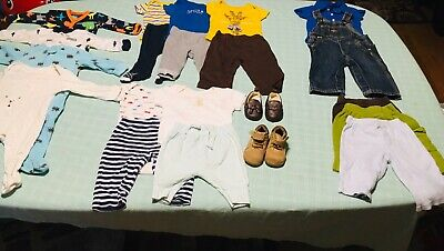 3 To 6 Month Infant Baby Boy Clothes Fall Lot 21 Pieces Crib Shoes Size 1 And 2