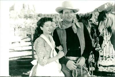 Photograph of Actor John Wayne with Gail Russell in film 'Angel and the Badman'