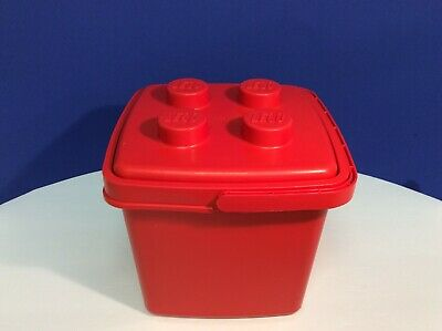 Vintage LEGO Red Storage Tub Bucket Container With Handle and Lid - Empty