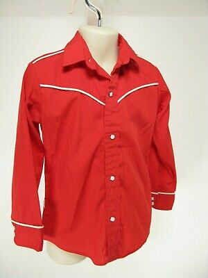 Rare Vintage Levi's Kids Western Pearl snap Red Size 6 Youth Made in USA