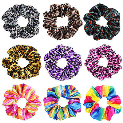 Leopard Ponytail Hair Rope Holder Ties Band Scrunchies Elastic Rubber Colorful