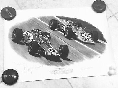 Indianapolis Indy 500 BOBBY UNSER JOE LEONARD SIGNED David Gray 1968 Race Print