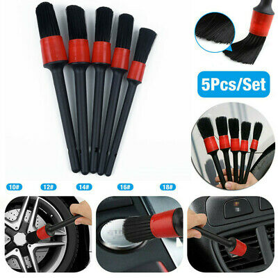 5Pcs Natural Boar Hair Auto Detailing Brushes Car Detail Cleaning Brush Tools