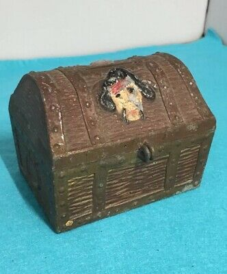 Vintage  Pirate Metal Treasure Chest Coin Bank Skull & Crossbones Without Lock