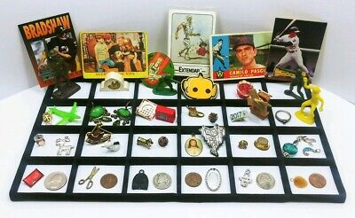Vtg Junk Drawer Lot (48) Trinkets Old Coins Pins Stamps Figures Rocks Toys Cards