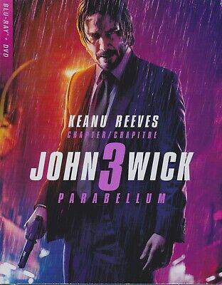 JOHN WICK 3 PARABELLUM BLURAY & DVD SET with Keanu Reeves & Laurence Fishburne