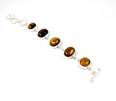 Tiger 's Eye  .925 Silver Plated Handmade Bracelet Jewelry KD170