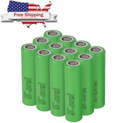 Samsung 18650 25R 2500mAh 35A High Drain Rechargeable Battery Free Case Lot