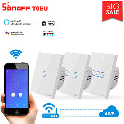 New Sonoff TX T0 EU Touch Panel WiFi Wall Switches Works With Alexa Google Home