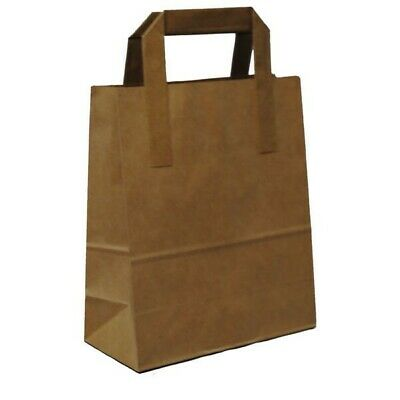 50 X Large Kraft Paper Brown Sos Food Carrier Bags With Handles Brown Paper Bags