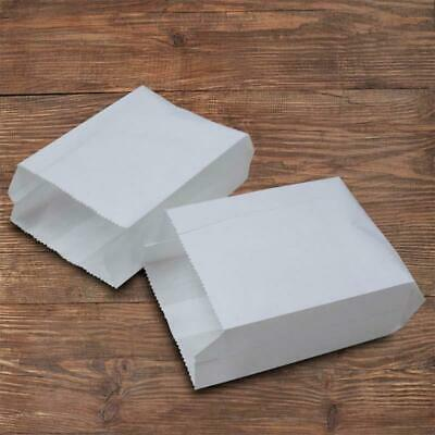 "100 X 6"" Small White Paper Bags Food Bags Sausage Bags Biodegradable Bags UK"
