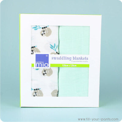 Bambino Mio Swaddling Blankets- 2 Pack of Baby Bamboo Swaddle Blankets
