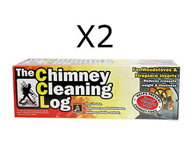 2 x Chimney Cleaning Log Fireplace Stove Soot Creosote Cleaner Eco Flue Sweeper