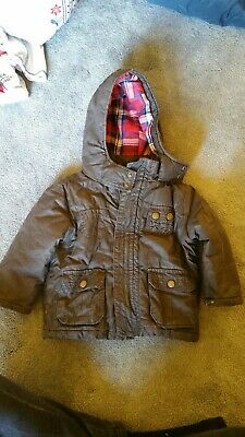 Tu Brown Boys Padded Coat Age 12 - 18 Months red check soft lining