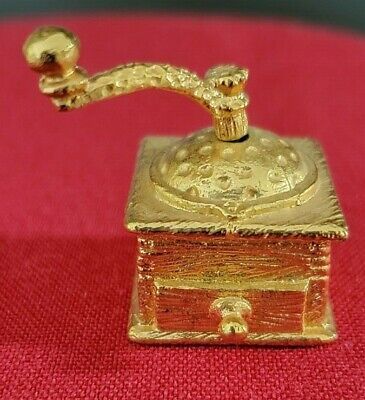 gold painted pewter coffee grinder thimble with movable handle