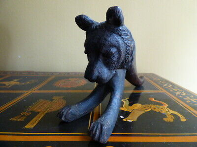Very Unusual Antique Black Forest Wooden Carved Bear With Glass Eyes