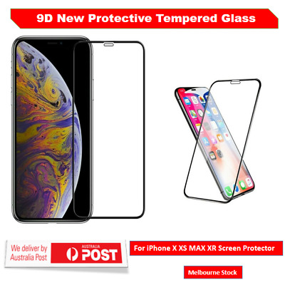 9DTempered Glass Screen Protector For Apple iPhone X XS Max 2x 1x Full coverage