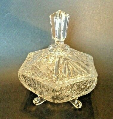 Footed Clear Lead Crystal Hexagon Candy Dish - Lid With Finial - Irena Poland