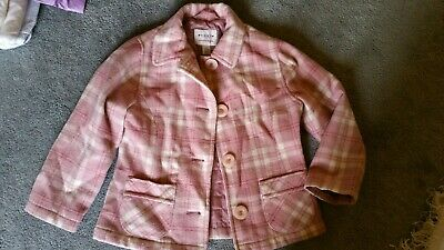 Next Girls Pink Wool blend lined checked Jacket Age 5-6