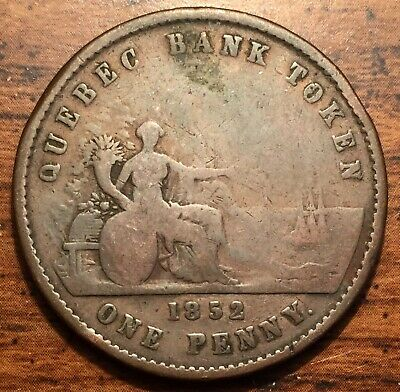 1852 Quebec Canada One Penny Bank Deux Sous Token