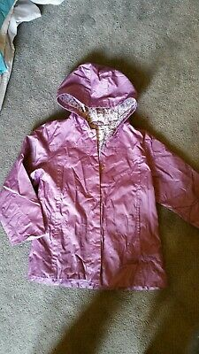 Next Girls metallic Purple flower lined waterproof hooded Jacket Age 5-6