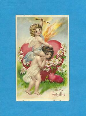 CUPID, ANGEL, FLAMING HEART On Beautiful Vintage 1909 VALENTINE Postcard