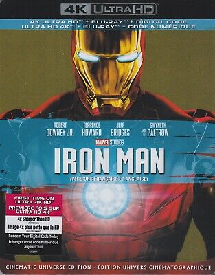 IRON MAN 4K ULTRA HD & BLURAY & DIGITAL SET with Robert Downey Jr & Jeff Bridges