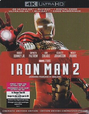 IRON MAN 2 4K ULTRA HD & BLURAY & DIGITAL SET with Robert Downey Jr & Stan Lee