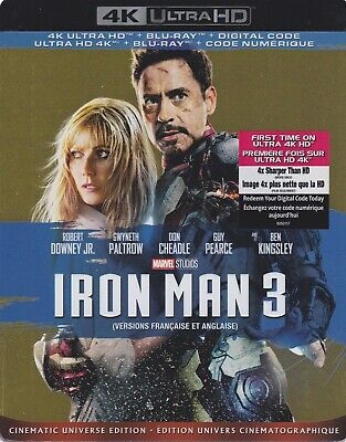 IRON MAN 3 4K ULTRA HD & BLURAY & DIGITAL SET with Robert Downey Jr & Guy Pearce
