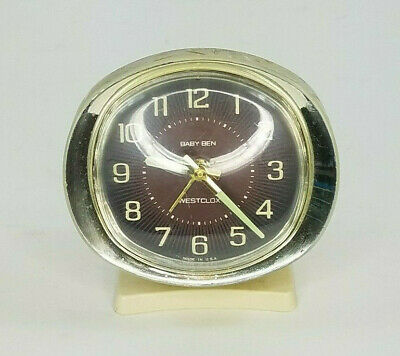 Vintage Westclox Baby Ben Wind Up Alarm Clock Oval Made In USA Mid Century
