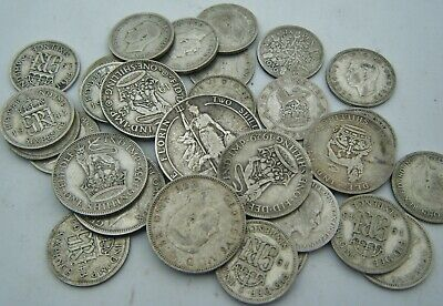 No.1 of 5:.Mixed Group Of C1900 - 1940s Silver Coins. Florin; Shilling; Sixpence