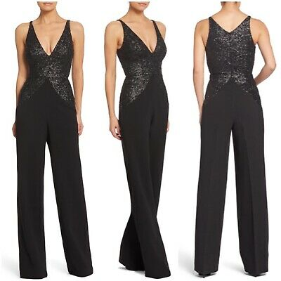 DRESS the POPULATION Womens S Black Joey Sequin Jumpsuit Formal Sleeveless Party