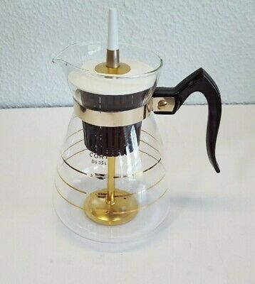 Vintage Cory Glass Stove Top Percolator - Gold Stripes - 10 Cup Coffee Pot
