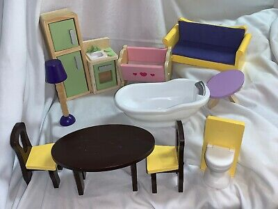 Kidkraft Wooden Dollhouse Furniture Lot Couch Table Chairs Fridge Crib Toilet