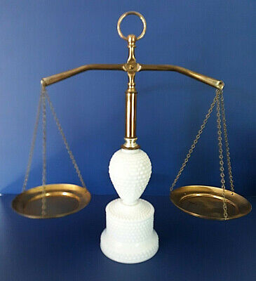 Vintage Hobnail White Milk Glass & Brass Apothecary Balance Scale of Justice Law