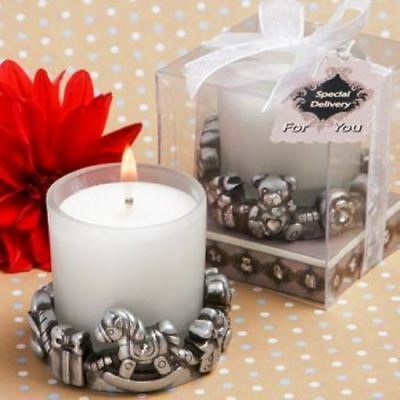 "Baby Shower Themed Pewter 2"" Votive Candle & Holder Favor Fc5452"