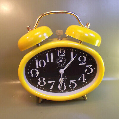Vintage (1960's) Jerger  yellow desk mechanical Alarm Clock. Made in Germany